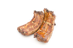 Grilled pork ribs isolated. On white background Royalty Free Stock Image
