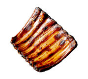 Grilled pork ribs. Isolated on white background Stock Photos