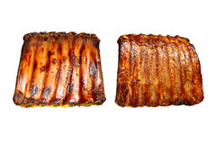 Grilled pork ribs. Isolated on white background Stock Photo