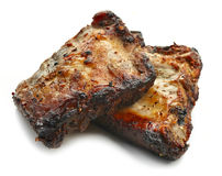 Grilled pork ribs. Isolated on white background Royalty Free Stock Images