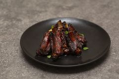 Grilled pork ribs with mashed potato royalty free stock images