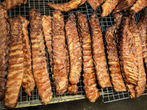 Grilled pork ribs. At the night market, Thailand, Phuket Royalty Free Stock Images