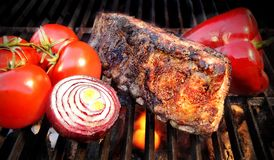 Grilled Pork Ribs On The Hot BBQ Grill. Stock Images