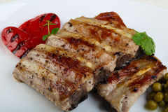 Grilled pork ribs. With pepper and thyme Stock Photography