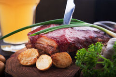 Grilled pork ribs with potato Royalty Free Stock Image