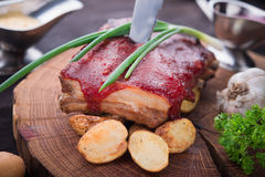 Grilled pork ribs with potato Stock Image
