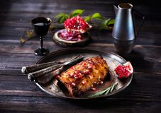 Grilled pork ribs with red wine Royalty Free Stock Image