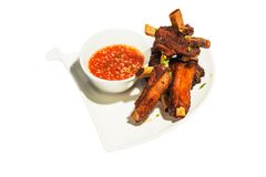 Grilled pork ribs with sauce Stock Photos