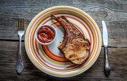 Grilled pork ribs. With spicy sauce Stock Photo
