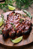 Grilled pork ribs, top view Royalty Free Stock Photo