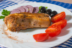 Grilled pork ribs on a white plate Royalty Free Stock Image