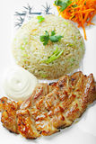 Grilled pork with rice above view Royalty Free Stock Photo