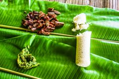Grilled pork and rice on banana leaf in Thailand stock image