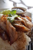 Grilled pork with rice. And dipping sauce Royalty Free Stock Photos
