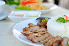 Grilled Pork with Rice Royalty Free Stock Photos