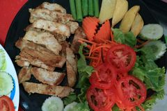 Grilled Pork Salad, Double Dip Salad Fresh, clean vegetables have health benefits. royalty free stock photography