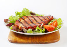 Grilled pork with salad greens Stock Image