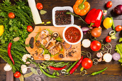 Grilled Pork with Salsa and Fresh Ingredients Stock Photo