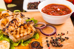 Grilled Pork with Salsa and Seasonings Stock Photos