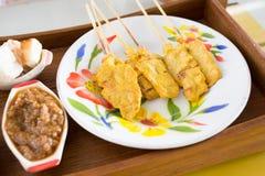 Grilled pork satay and peanut sauce, thai food Stock Image