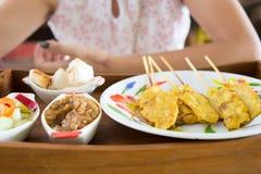 Grilled pork satay and peanut sauce, thai food Stock Photos