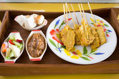 Grilled pork satay and peanut sauce, thai food Royalty Free Stock Photography