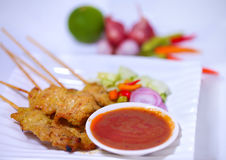 Grilled Pork Satay with Peanut Sauce and Vinegar,Thai Food. Stock Images