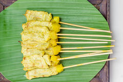Grilled Pork Satay with Peanut Sauce and Vinegar Royalty Free Stock Photos