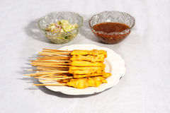 Grilled Pork Satay with Peanut Sauce and Vinegar. Royalty Free Stock Images