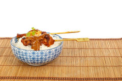 Grilled pork satay and rice against white background Stock Images
