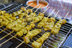 Grilled pork satay and sweet herbs with Thailand's food has been very popular in Thailand. Stock Images