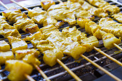 Grilled pork satay and sweet herbs with Thailand's food has been very popular in Thailand. Royalty Free Stock Photo