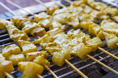 Grilled pork satay and sweet herbs with Thailand's food has been very popular in Thailand. Royalty Free Stock Photos