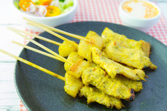 Grilled pork satay and sweet herbs with Thailand's food has been very popular in Thailand. Stock Image