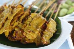 Grilled Pork Satay with Vinegar. Thai food Stock Photo
