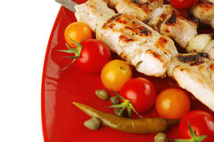 Grilled pork shish kebab Stock Images