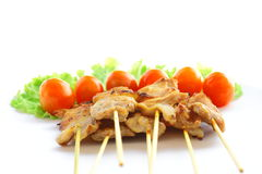 Grilled pork skewed with bamboo stick Royalty Free Stock Photo