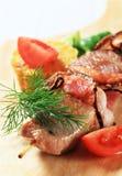 Grilled pork skewer Royalty Free Stock Images