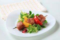 Grilled pork skewer with salad greens Royalty Free Stock Photography
