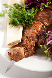 Grilled Pork. Skewered Pork with Vegetables and Onions Stock Photos