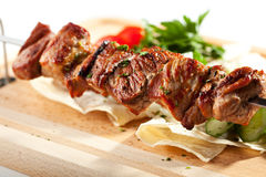 Grilled Pork Skeweres. With Vegetables and Sauce Stock Images