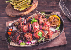 Grilled pork skewers closeup Stock Image