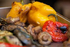Grilled Pork Skewers and roasted Red Bell Pepper. Selective focus stock image