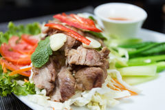 Grilled pork. With spicy seafood sauce Stock Image