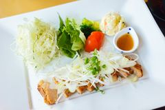 Grilled pork with spring salad royalty free stock photography