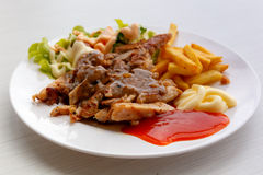 Grilled pork steak with potato and salad Stock Photo