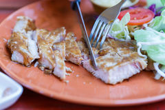 Grilled pork steak with salad Stock Photos