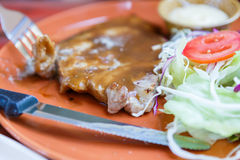 Grilled pork steak with salad Stock Photography