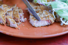 Grilled pork steak with salad Royalty Free Stock Photography
