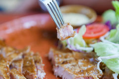 Grilled pork steak with salad Royalty Free Stock Image